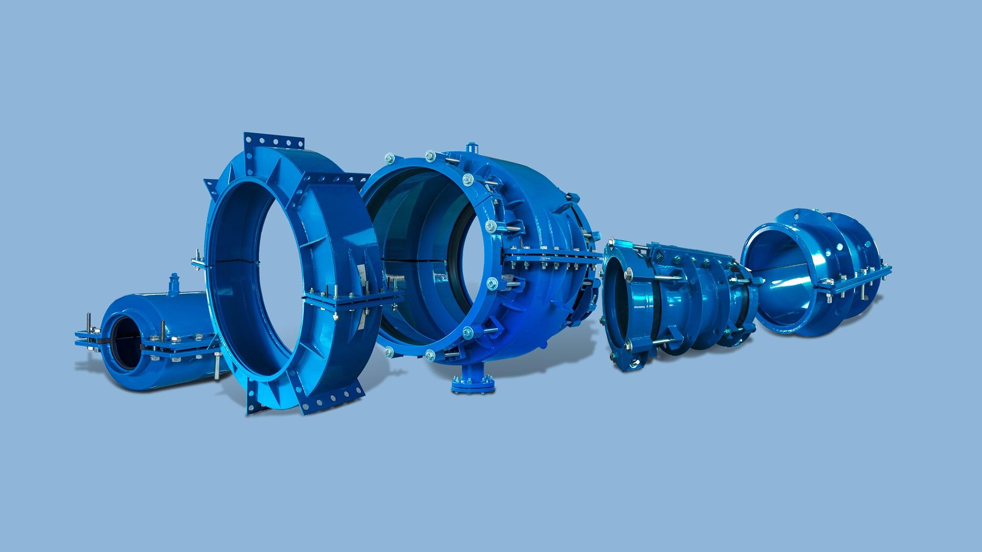AVK encapsulation collars product range for under pressure repair of pipe sockets and walls