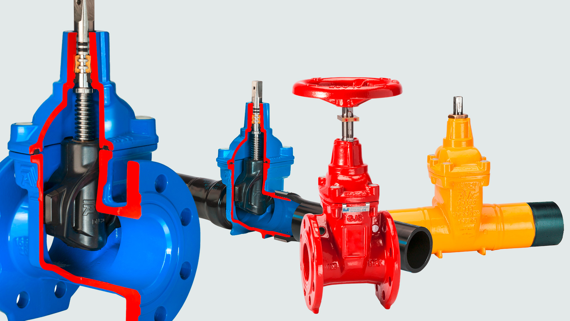 AVK gate valves with cutaway and visible wedge