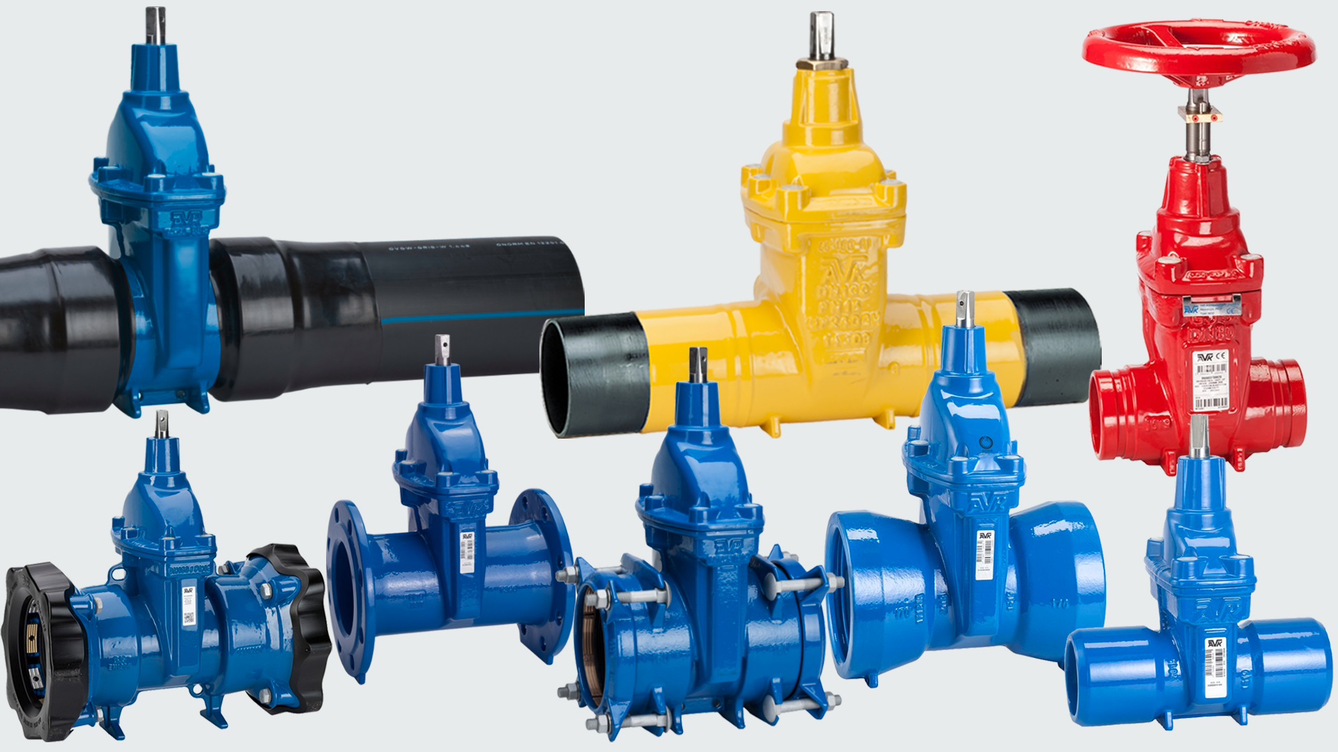 A selection of gate valves with different end connections