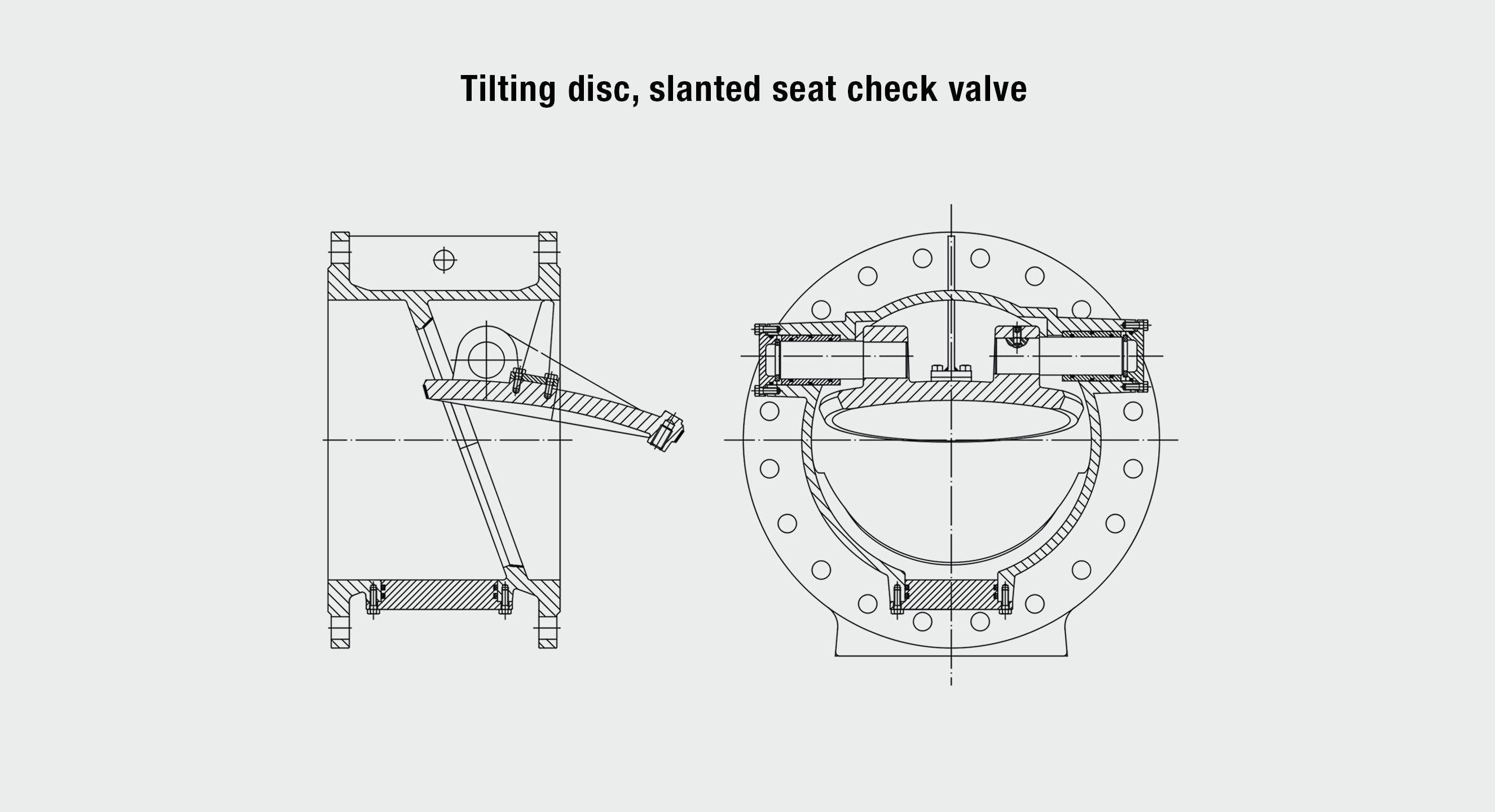 Product drawing of AVK tilting disc, slanted seat check valve