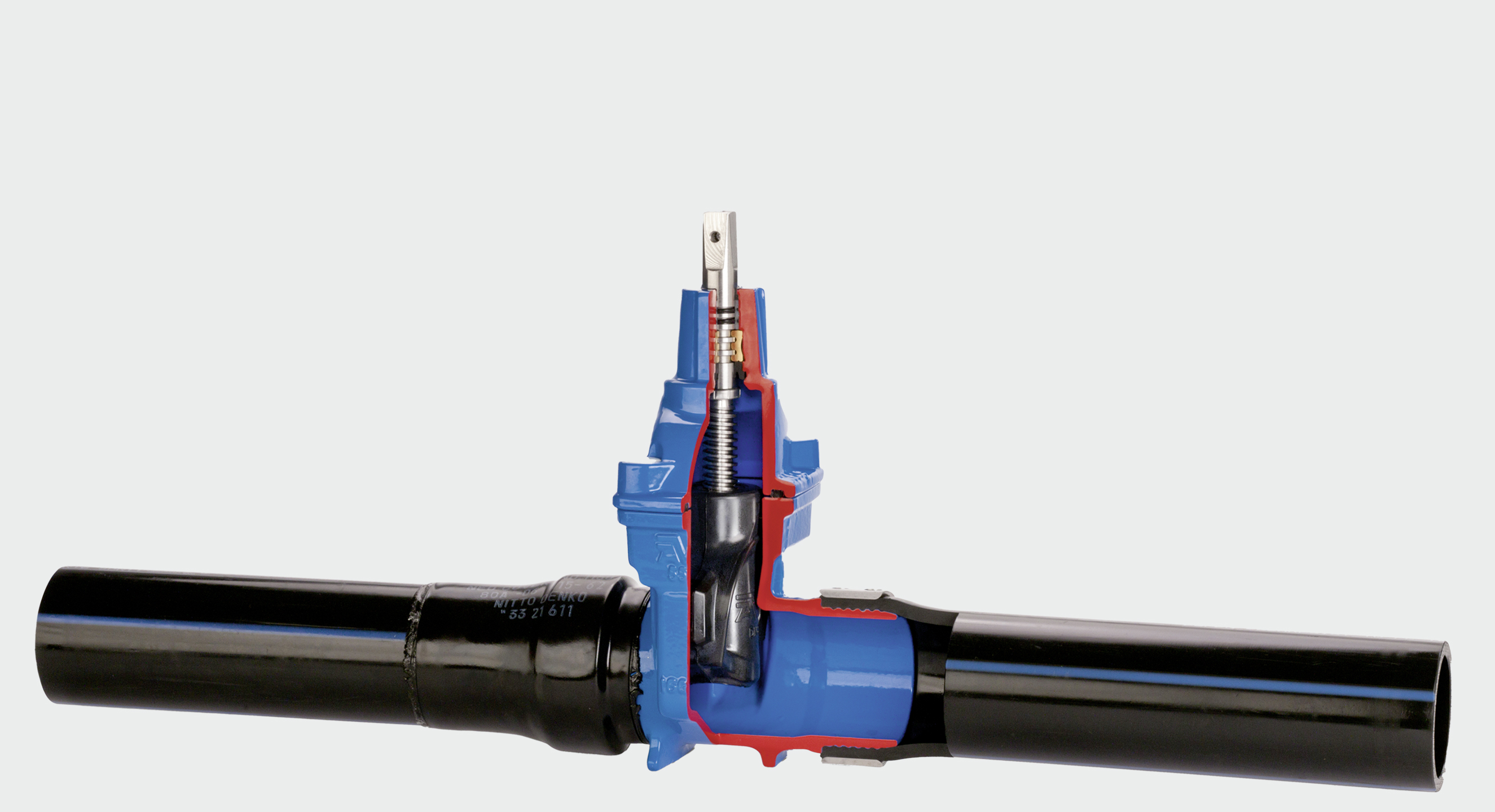 AVK gate valve with PE ends for a fully integrated PE pipe system
