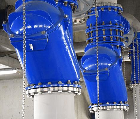AVK ball check valves at wastewater pumping station Sint-kruis in Brugge