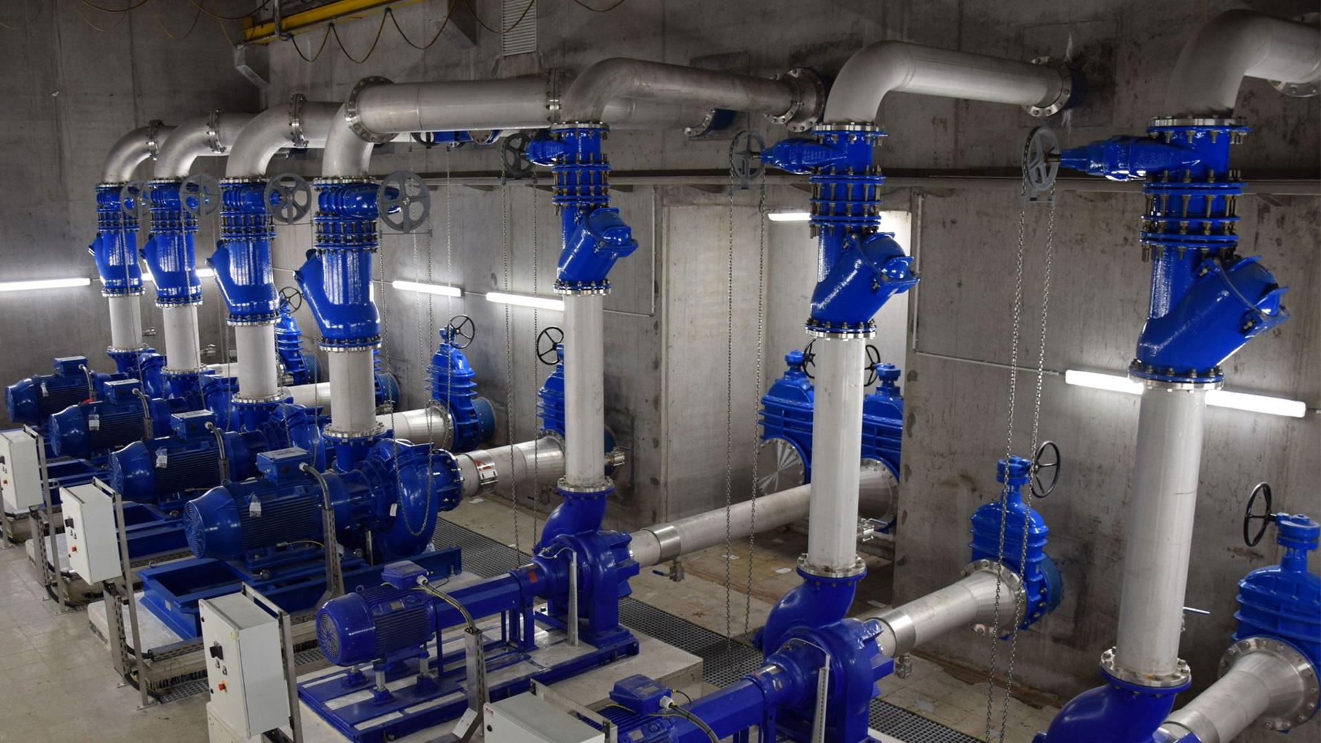 AVK valves at wastewater pumping station Sint-Kruis in Brugge, Belgium