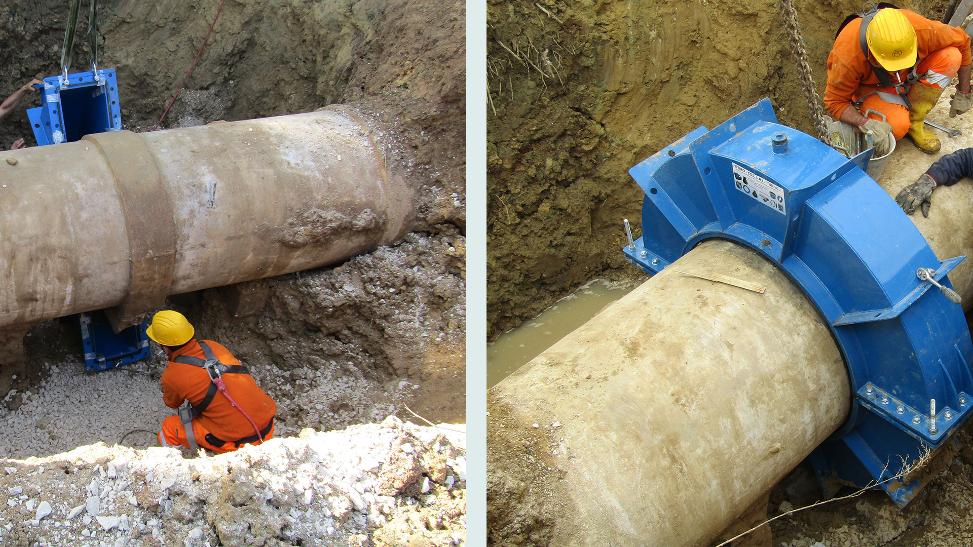 A Hydro Fast socket encapsulation collar was used for repairing leaking socket joint on old and fragile concrete pipeline located in the Lecce district in Puglia, Southern Italy.
