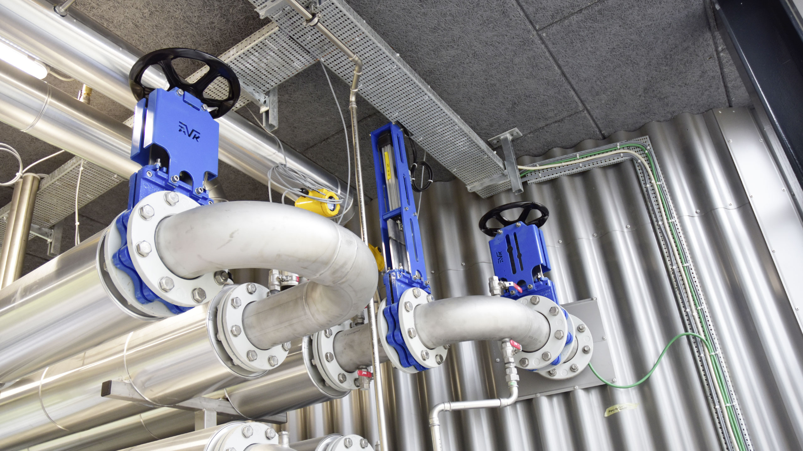 Knife gate valves installed indoor at the Egaa wastewater treatment plant in Denmark