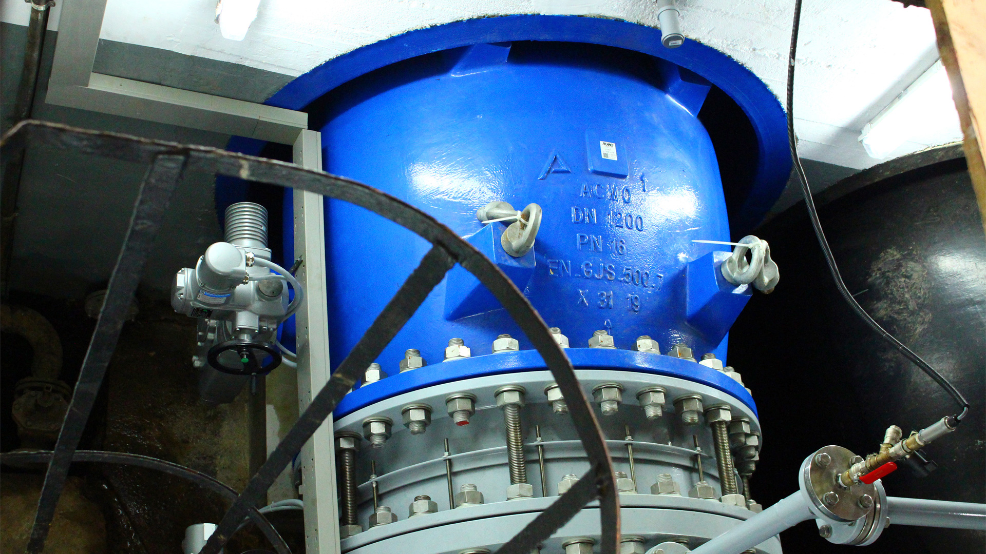 AVK needle valve installed at bottom outlet for dam base drainage