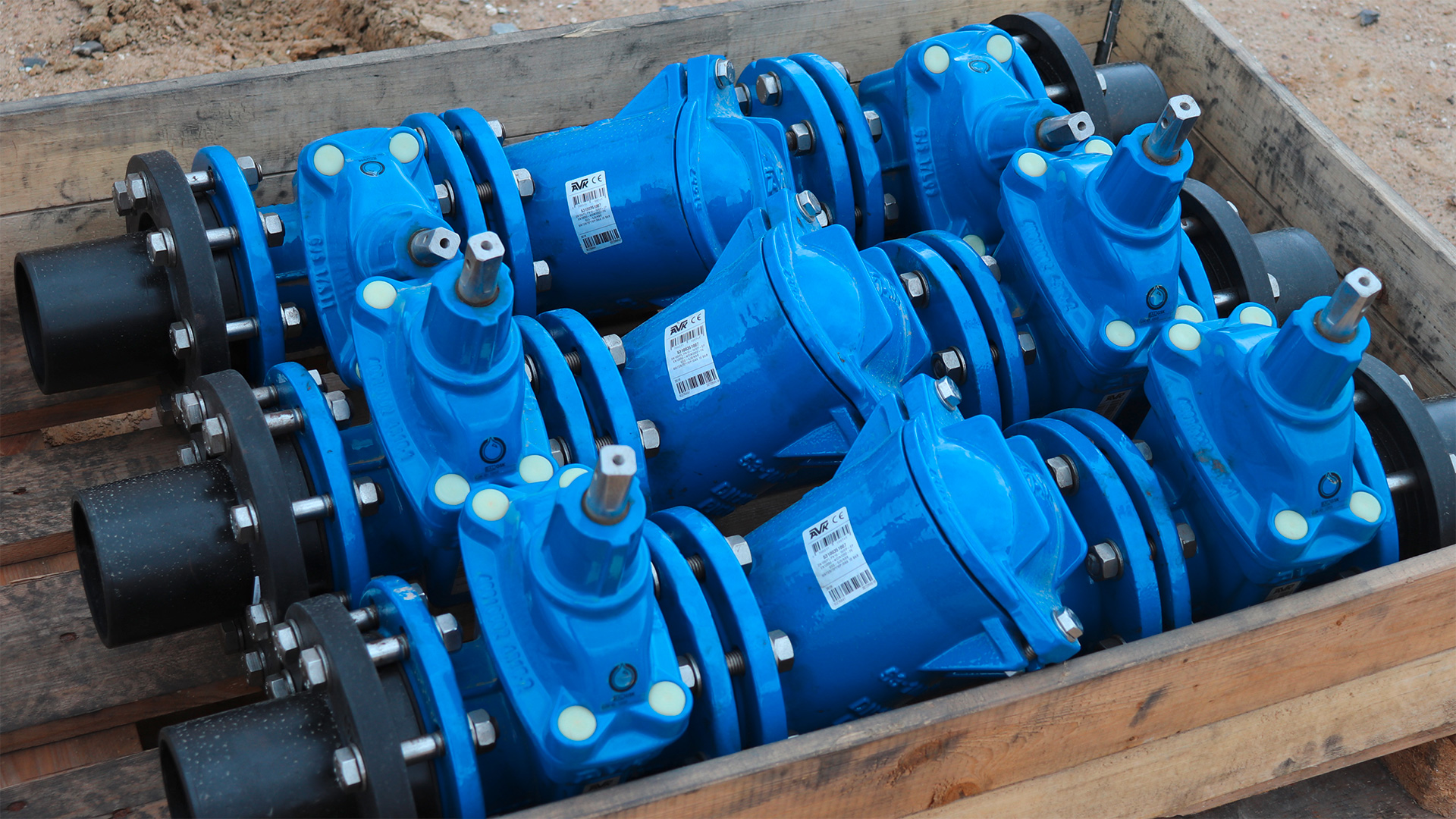 AVK ball check valves and AVK gate valves at construction site for new hospital