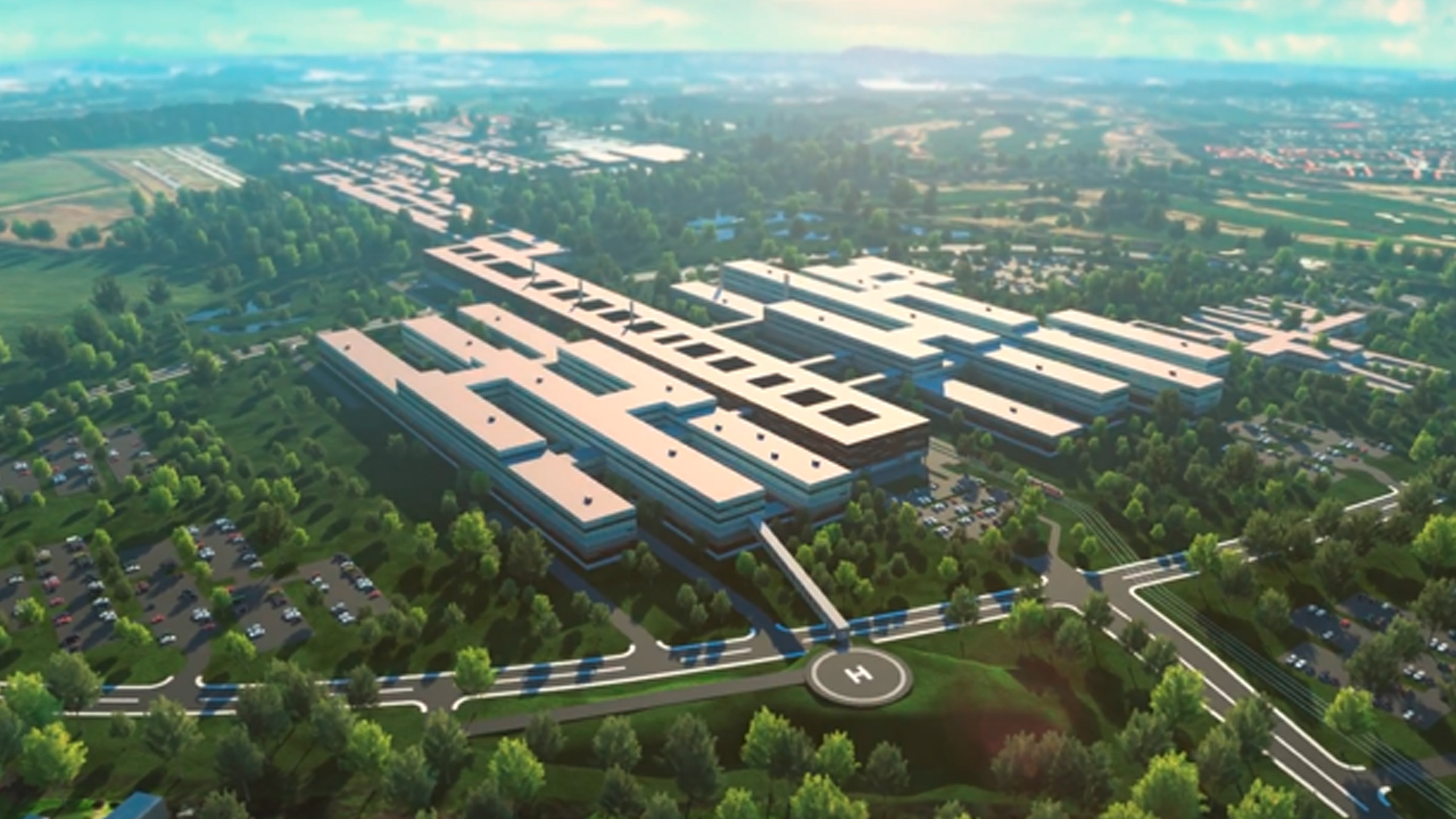 Animated overview of the new university hospital in Odense, Denmark