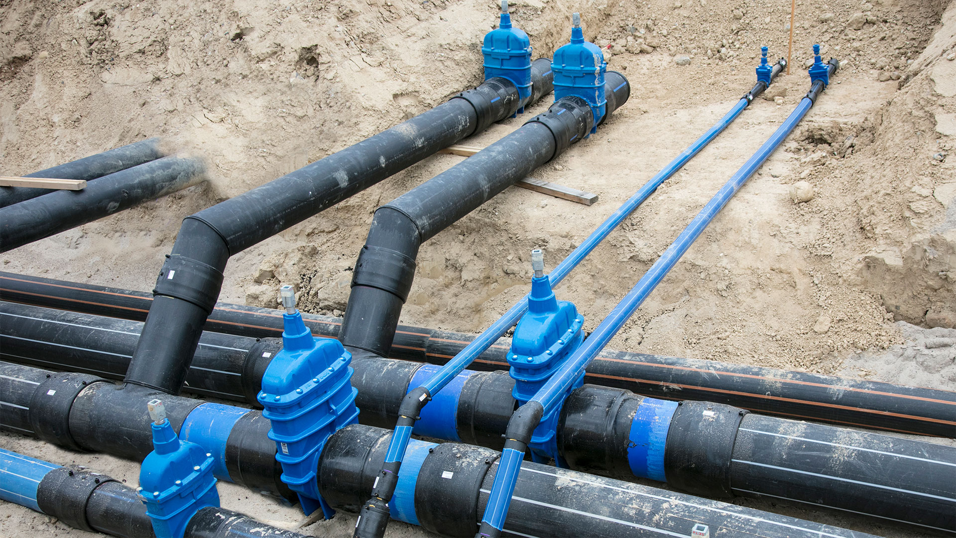 Pipe system with AVK valves at hospital construction site