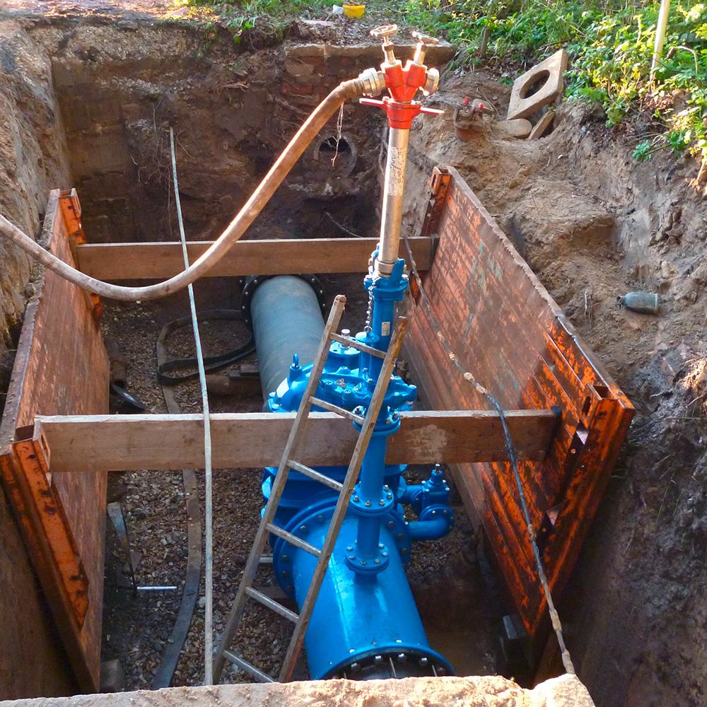AVK free flow hydrant installation Stadtwerke Herford