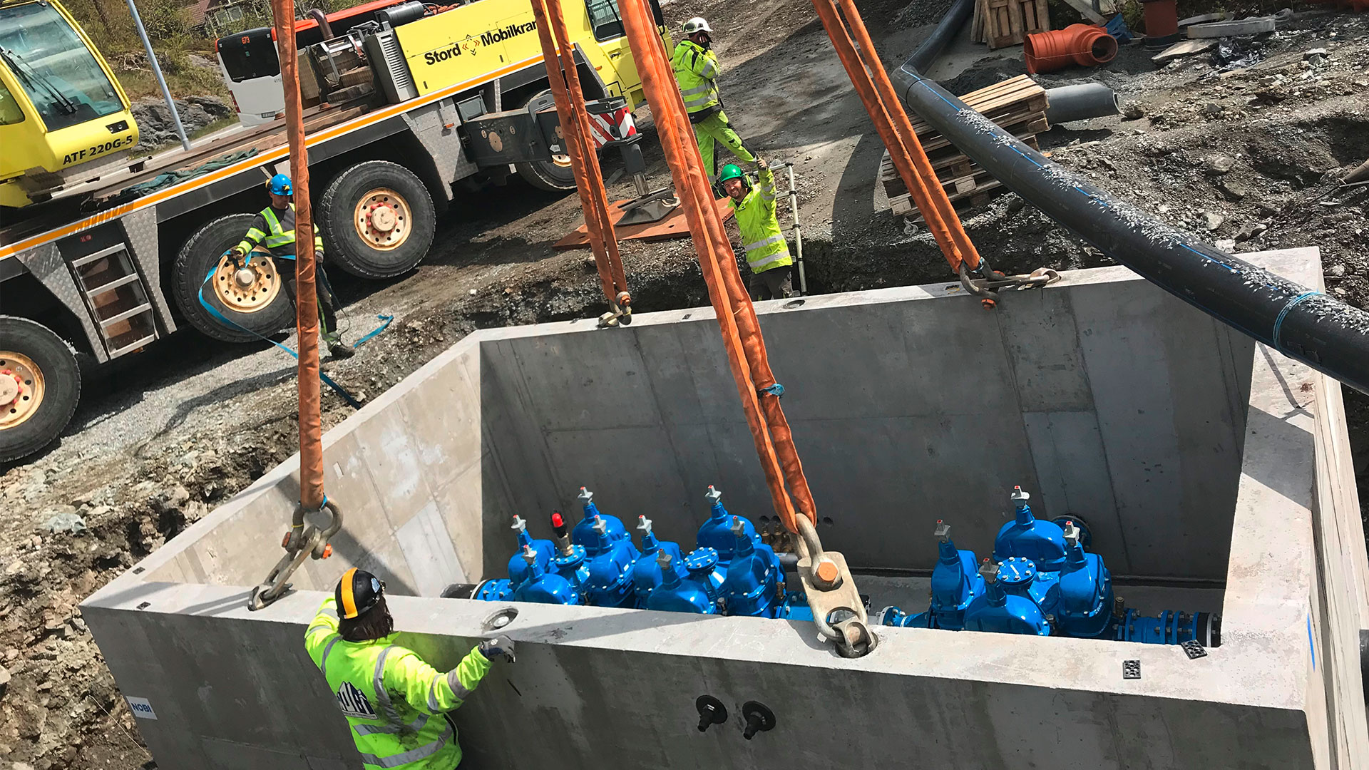 Prefabricated manhole chamber with AVK combi-crosses for upgrading water infrastructure in Stord, Norway