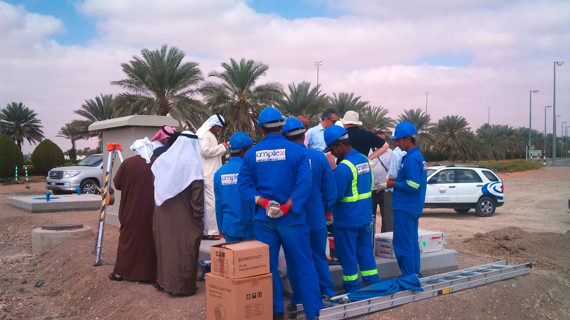 Construction work during water loss project in Abu Dhabi