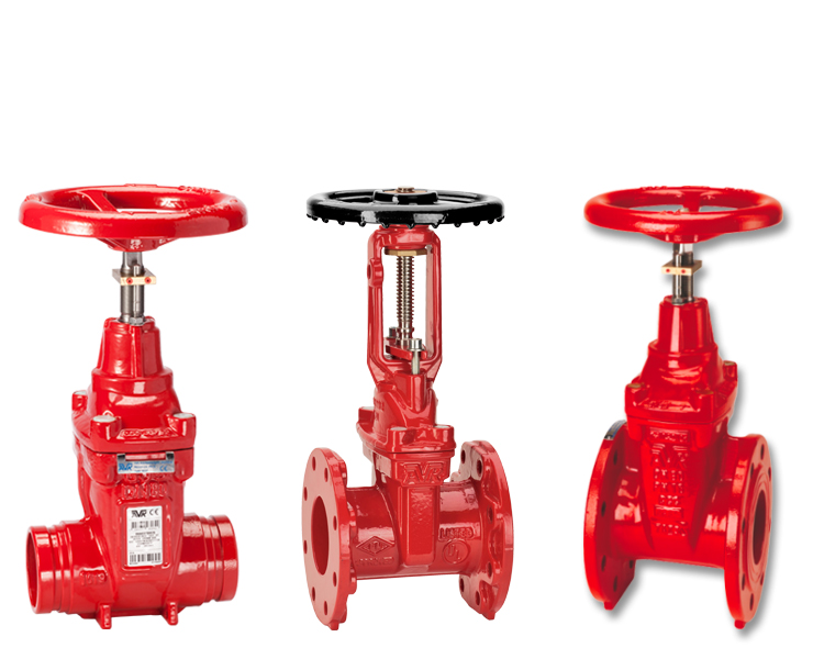 Indoor gate valves for fire protection